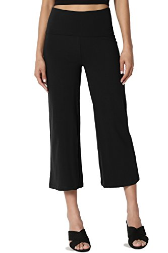 TheMogan Women's Thick Cotton Foldover Waist Capri Crop Yoga Pants Black M