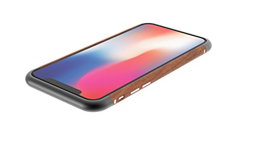 Beechwood Case (iPhone X/10 Case, iPhone X Wooden Bumper Cases, Aluminum Alloy with Real Walnut or Beech Wood Cell Phone Case (Black, iPhone X))