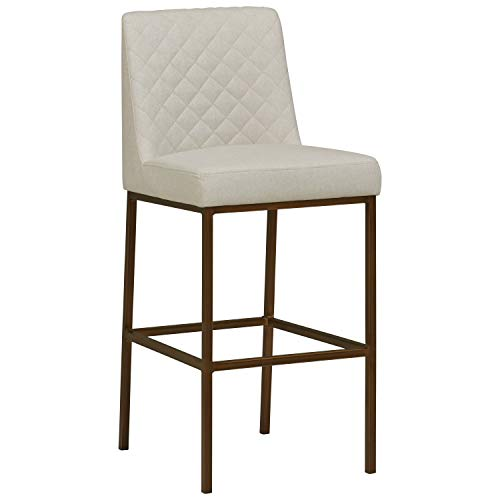 Rivet Vermont Modern Kitchen Counter Bar Stool 42 Inch Height, Brass Legs, Chalk