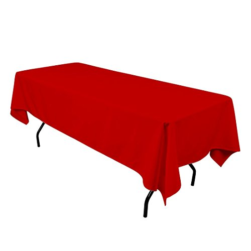 "Gee Di Moda Rectangle Tablecloth - 60 x 102"" Inch - Red Rectangular Table Cloth for 6 Foot Table in Washable Polyester - Great for Buffet Table, Parties, Holiday Dinner, Wedding & More"