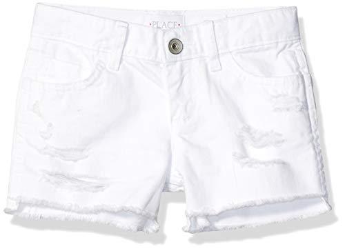(The Children's Place Girls' Big Denim Shorts, White, 6X/7)