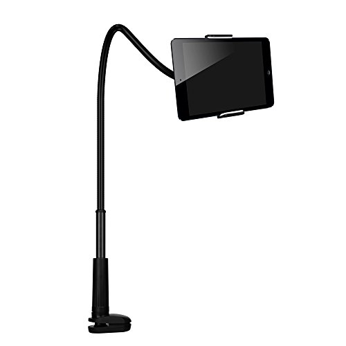 FUTESJ Cell Phone Stand Holder, Gooseneck Flexible Clip Lazy Arm Bracket for Tablet ipad/ iPhone 7/6/6s Plus Samsung Note Galaxy S6/S7 Mount for Desktop Bedroom, Office, Bathroom, Kitchen (Black)