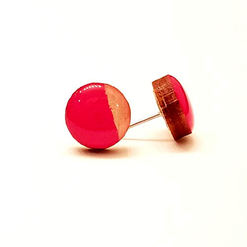 Hand painted red and natural wood stud earrings 10mm