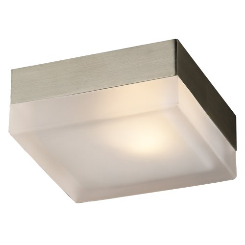 (PLC Lighting 6573 SN 1-Light Wall/Ceiling Fixture Praha Collection, Froated Glass and Satin Nickel Finish)