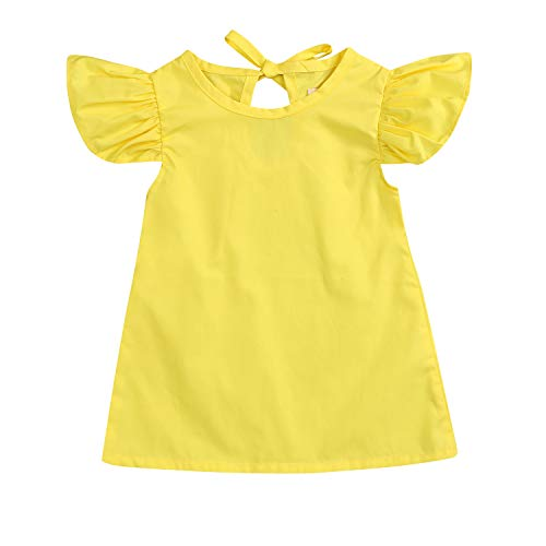YOUNGER TREE Baby Princess Dress Summer Autumn Girls Dress Yellow Ruffles Sleeve Kids Party Tutu Dresses Clothes (Yellow, 6-9 - Tutu Spring