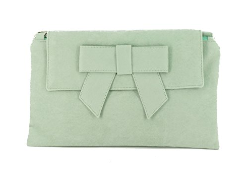 in Clutch Faux LONI Wristlet Aqua Green Suede Shoulder Bag Bag Leather Womens Pale qAYAw8