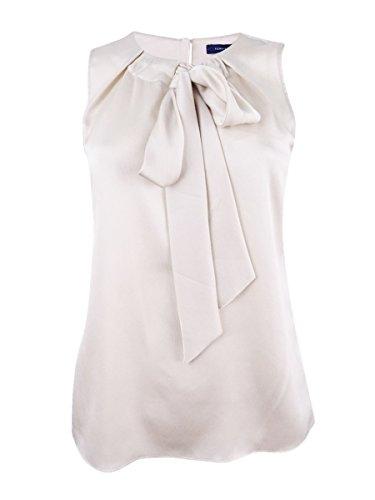 Tommy Hilfiger Women's Medium Tank Tie-Neck Crepe Top Beige ()