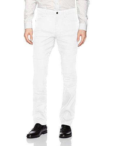 Cubavera Men's Linen-Blend 5-Pocket Pant with Stretch, Bright White, 38W x - White Pants Linen Stretch