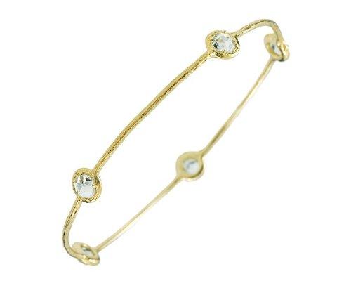 Or jaune 14 carats à enfiler avec topaze bleu Bracelet JewelryWeb