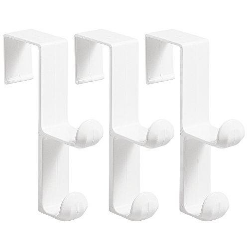 InterDesign Over Door Organizer Hook for Coats, Hats, Robes, Clothes or Towels  Double Hook, White, Pack of 3