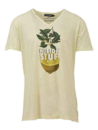 Cotton Dress Shirt Dolce Gabbana & (Dolce e Gabbana Men's 9703970397039703 Yellow Cotton T-Shirt)
