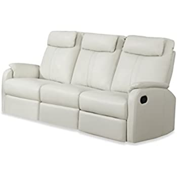 Monarch Specialties I 81Iv 3 Ivory Bonded Leather Reclining Sofa In Part 78