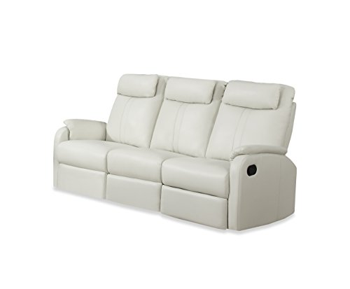 Contemporary Ivory Leather Sofa - Monarch Specialties I 81Iv 3 Ivory Bonded Leather Reclining Sofa in