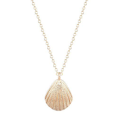 MUZHE Gold Silver Sea Shell Pendant Necklace for Women (Gold)