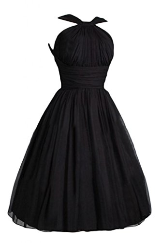 Victoria Dress Womens Fashion A-Line Short Chiffon Pageant Bridesmaid Dress - 18 Plus - Black (Black Chiffon A-line)