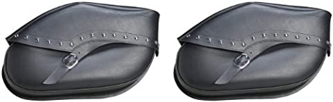 Willie & Max By Dowco - Revolution Series - Hard Mount Studded Motorcycle Saddlebag Set - Lifetime Limited Warranty - UV Protection - Leather - Black Chrome - Small - Up To 30L Capacity [ 59534-00 - Studded Revolution