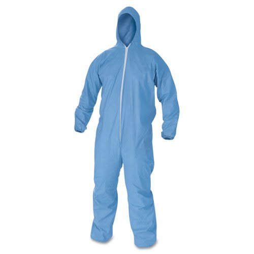 KCC45023 - Kleenguard A60 Elastic-cuff amp; Back Hooded Coveralls, Blue, Large by Kimberly-Clark