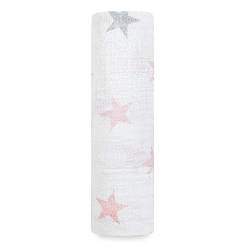 Aden by Aden + Anais Classic Swaddle Baby Blanket, 100% Cotton Muslin, Large 47 X 47 inch, Single, Doll, Pink Stars ()