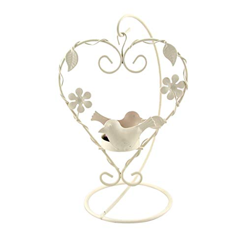MIS1950s Candles Holder Wrought Iron Heart Shaped Retro Iron Candlestick Lantern for Party Home Decoration (White) (Sofa Wrought Outdoor Iron)