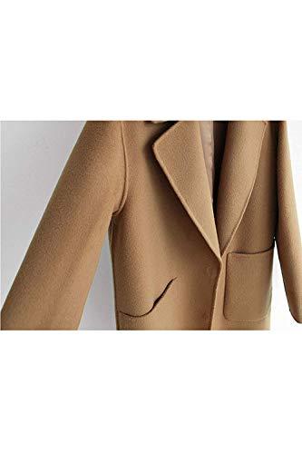 Donna Zhrui colore Camel2 L Dimensione Size Cammello In Da Con Plus Cappotti Capispalla Lana Casual Invernale Tasche qBwHS4g