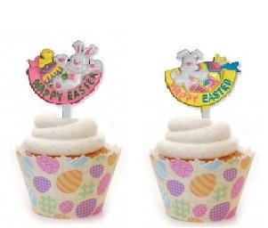 Easter - Happy Easter Rabbit and Egg Cupcake Picks Set of - Cupcake Easter