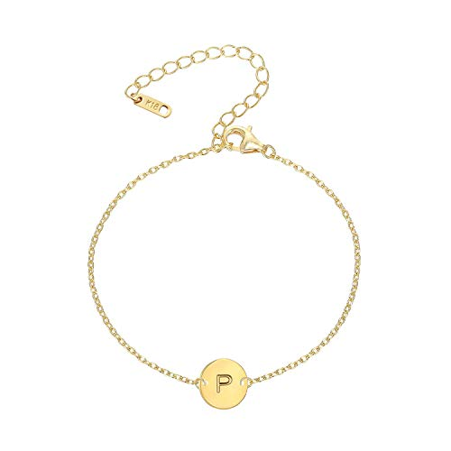 (MOMOL Initial Charm Bracelets, 18K Gold Plated Stainless Steel Dainty Small Round Coin Disc Initial Bracelet Engraved Letter P Personalized Name Bracelet for Women Girls Kids (P))