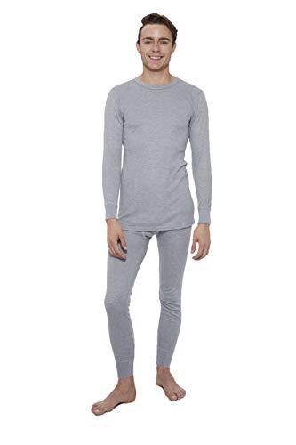 Rocky Thermal Underwear for Men Top & Bottom Set Long John Ultra Soft Smooth Knit (XLarge, Grey)