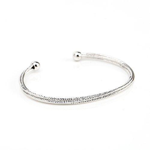Contemporary Silver (White Gold) Tone Designer Bangle Bracelet with Sleek Multi Strand Mesh Design (Tri Color Love Bracelet)