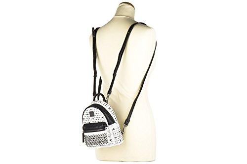 MCM Leder Rucksack Damen Tasche Schulrucksack Weiß