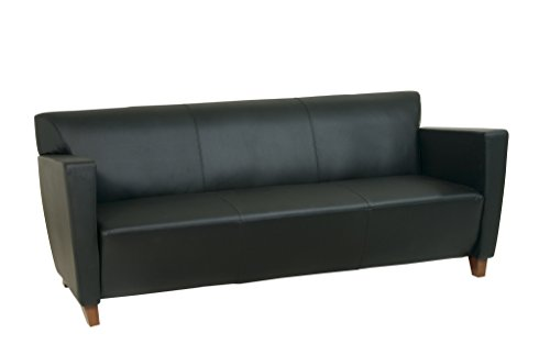 Office Star Modern Leather Sofa with Cherry Finish Legs, Black (Leather Sofa Cherry)