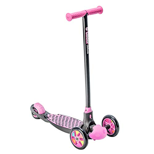 Yvolution Y Glider Deluxe | Three Wheel Kick Scooter for Kids with Safety Brake for Children Ages 3+ Years (Pink)