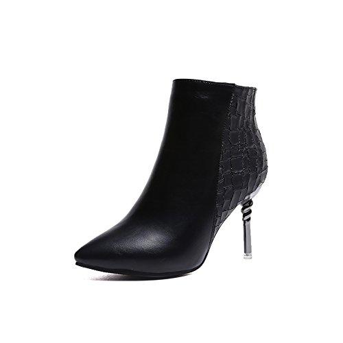 Englische Heel Weibliche Heel High Tube Martin Fine Schuhe Bare Baumwolle Boots Schwarz Stiefel Kurze Stiefel KHSKX Samt UAq5X7nA