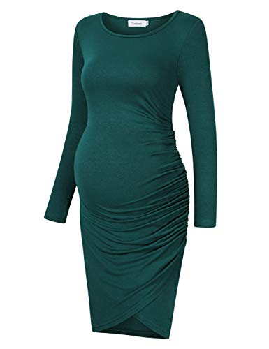 Coolmee Womens Maternity Dresses Casual Ruched Long Sleeve Irregular Bodycon Mini Dress for Women XL Green