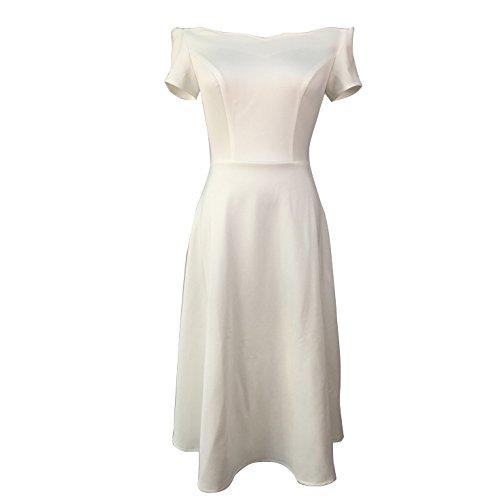 Gypsophila Women's Off Shoulder Elegant Mid Calf Dress (XXL, White)