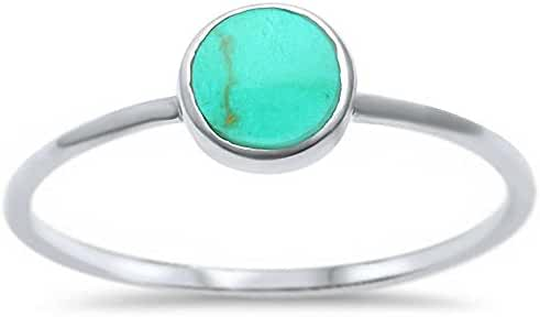 Sterling Silver Round Simulated Turquoise Ring Sizes 5-10