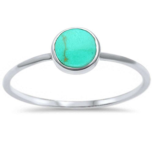 Sterling Silver Round Simulated Turquoise Ring Sizes 8