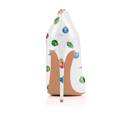 Claus Printing 1 on Shoes YCG Pattern Santa Pumps White Heels Slip Cow High Women's wwqBY7H