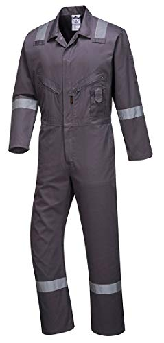 Portwest C814GRRXXXL Iona Cotton Heavy Duty Work Overalls with Reflective Safety Tape, Gray, 3 XL