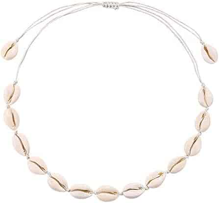 ASELFAD Natural Cowrie Shell Necklace Handmade Woven Adjustable Boho Hawaii Sea Beach Choker for Women Girls