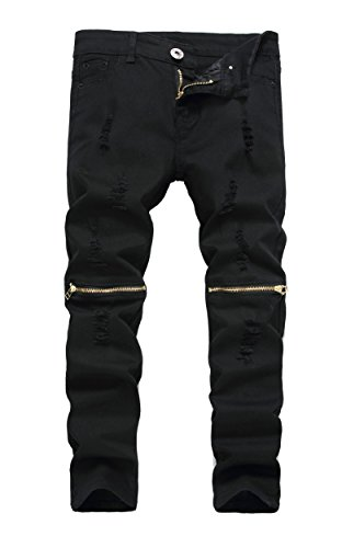 Boy's Black Slim Fit Skinny Jeans Ripped Elastic Waist Pants with Zipper for Kids,Black,16 -