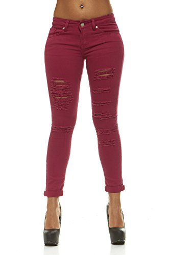 Ripped Jeans For Women Distressed Skinny Jeans For Women Mid Rise Junior Size 11 colorful Denim Sangria Red