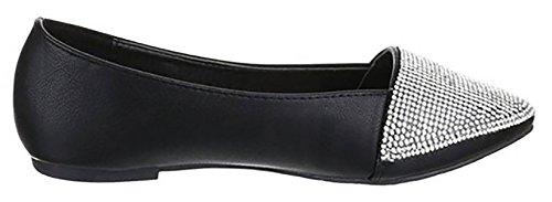 donna basse strass ecopelle bamboline scarpe similpelle scarpe Nero Ballerine 1dUnWqtx1