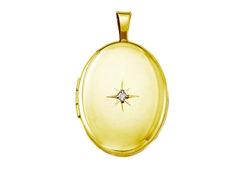 Pori Jewelers 14K Solid Yellow Gold Oval Starburst Locket Pendant- Perfect for Holding Photos, Messages, -