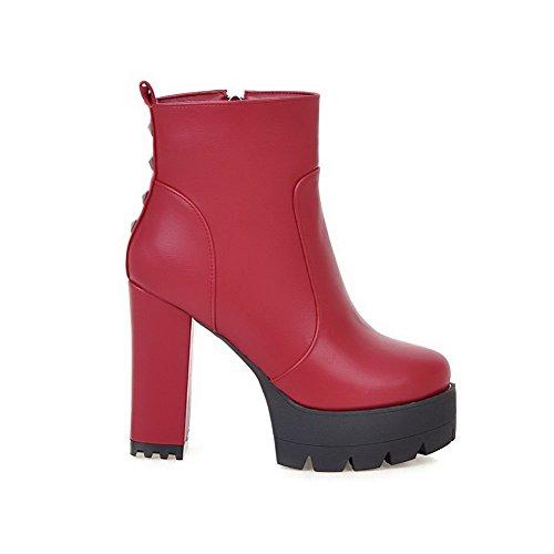 Zipper Round Low Heels Red Boots Toe Top Womens High AllhqFashion wyFqf4aBPq