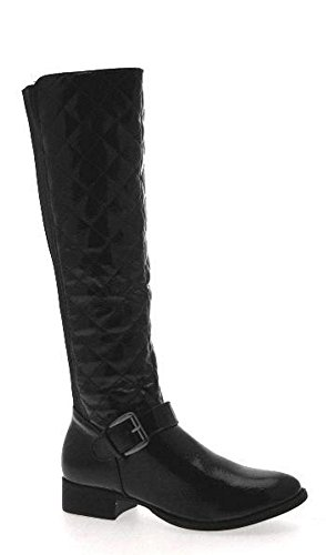 NEW WOMENS QUILTED STRETCH ELASTICATED WIDE CALF FLAT HEEL BIKER RIDING BOOTS KNEE HIGH LADIES SIZE UK 3 - 8 Black Patent NyQXsidrx
