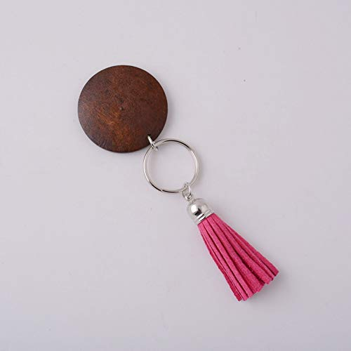 VT BigHome Wood Monogram Keychain Round Dark Brown Wood Multicolor For Bag Ring Key Chain by VT BigHome
