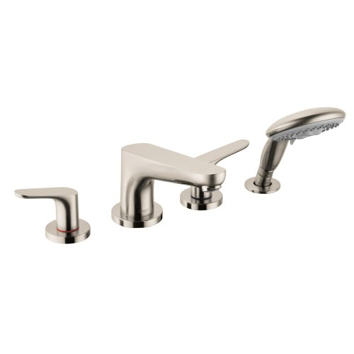 Hansgrohe 4366820 Focus 4-Hole Roman Tub Set Trim with 2.0 GPM Handshower, Brushed Nickel