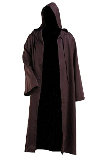 Men TUNIC Hooded Robe Cloak Knight Fancy Cool Cosplay Costume, Brown, XXL -