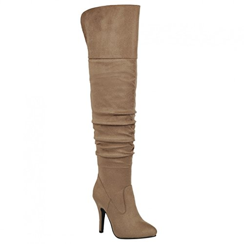 Forever Link Focus-33 Womens Fashion Stylish Pull on Over Knee High Sexy Boots Taupe Suede CkkR6ej