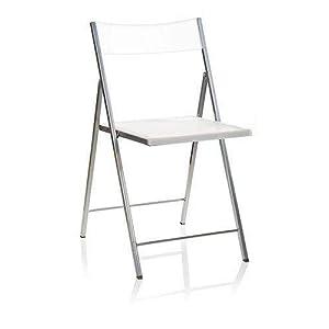 Eurosilla Slim Chaise Pliante pour Salon Blanc 77x 43x 45cm